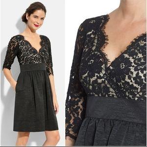 Eliza J Lace & Faille Dress Cocktail Black Sz 4P